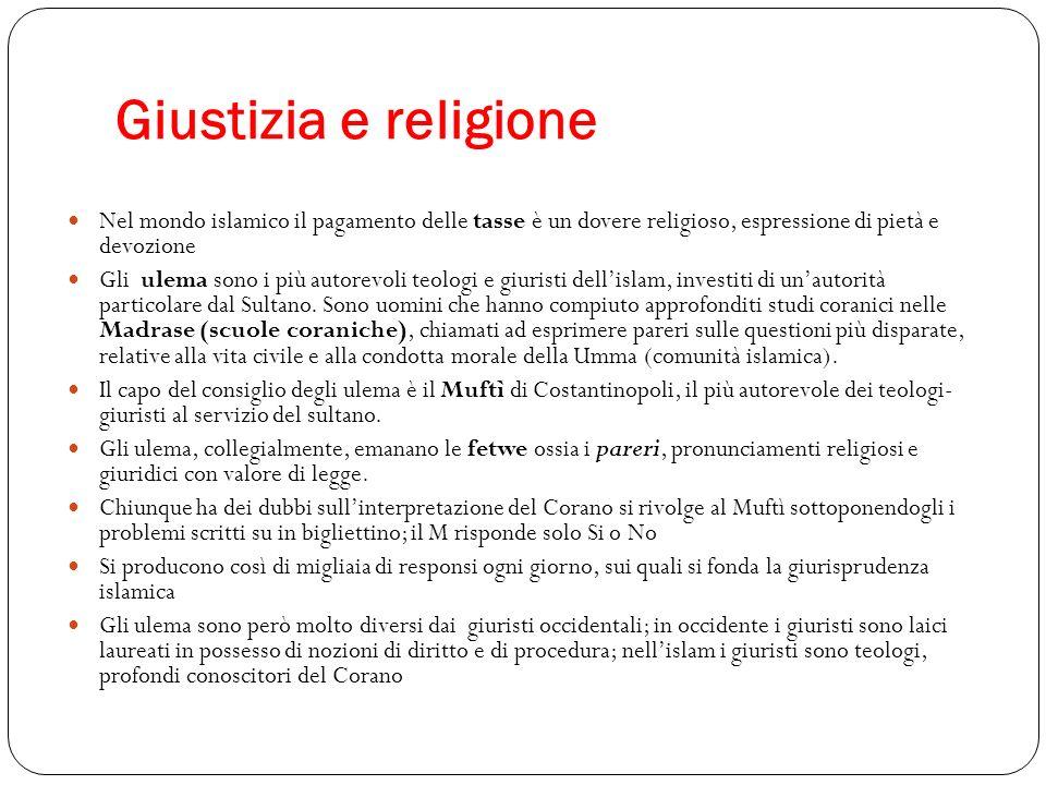 Giustizia e religione Nel mondo islamico il pagamento delle tasse è un dovere religioso, espressione di pietà e devozione.