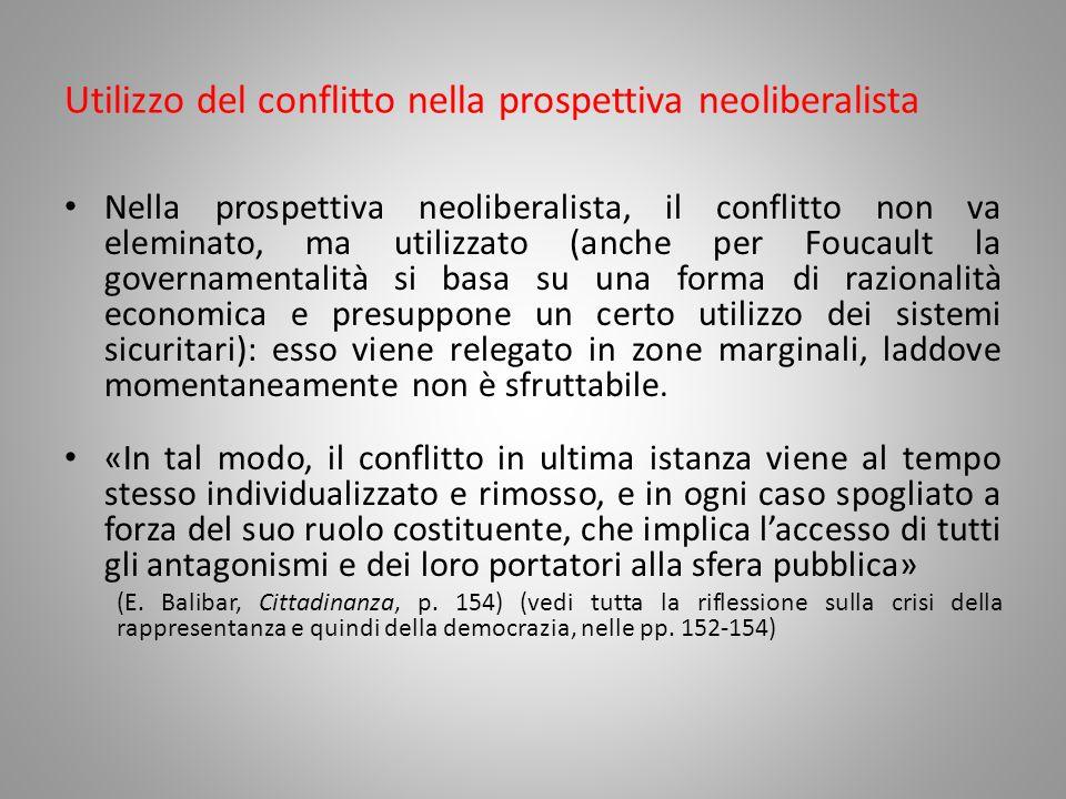 Utilizzo del conflitto nella prospettiva neoliberalista