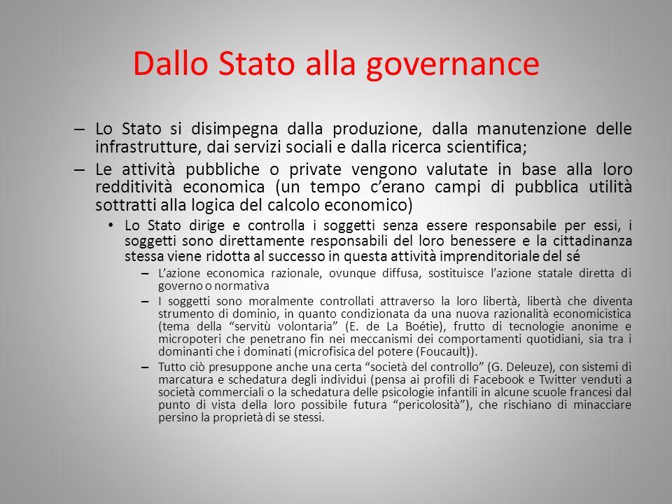 Dallo Stato alla governance