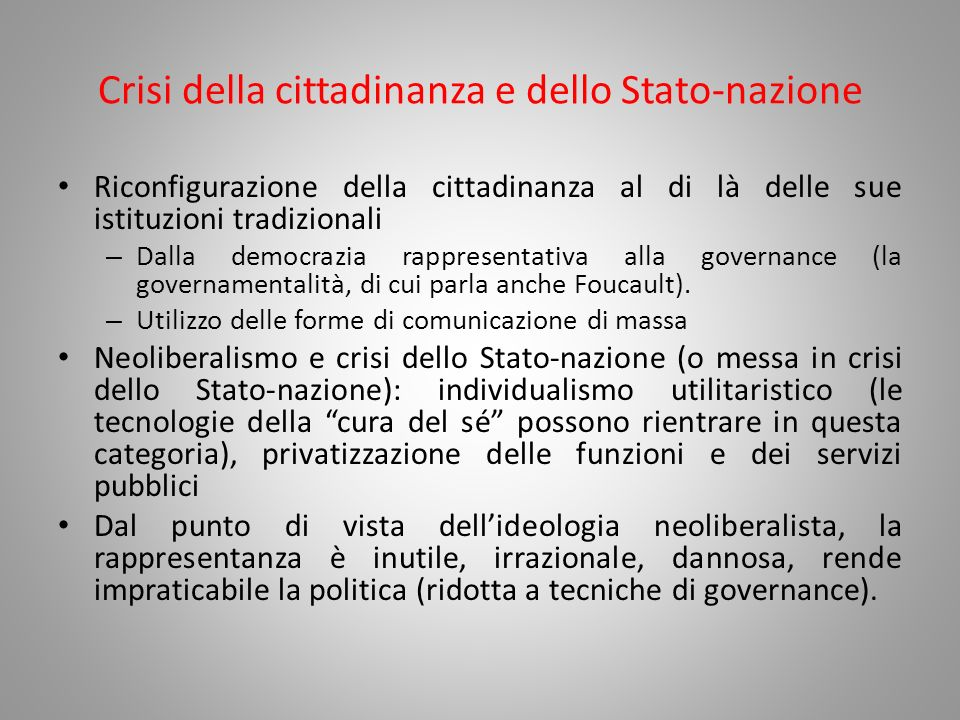 Crisi della cittadinanza e dello Stato-nazione
