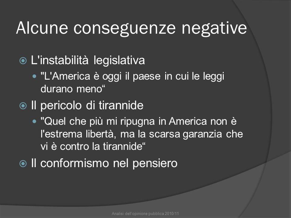Alcune conseguenze negative