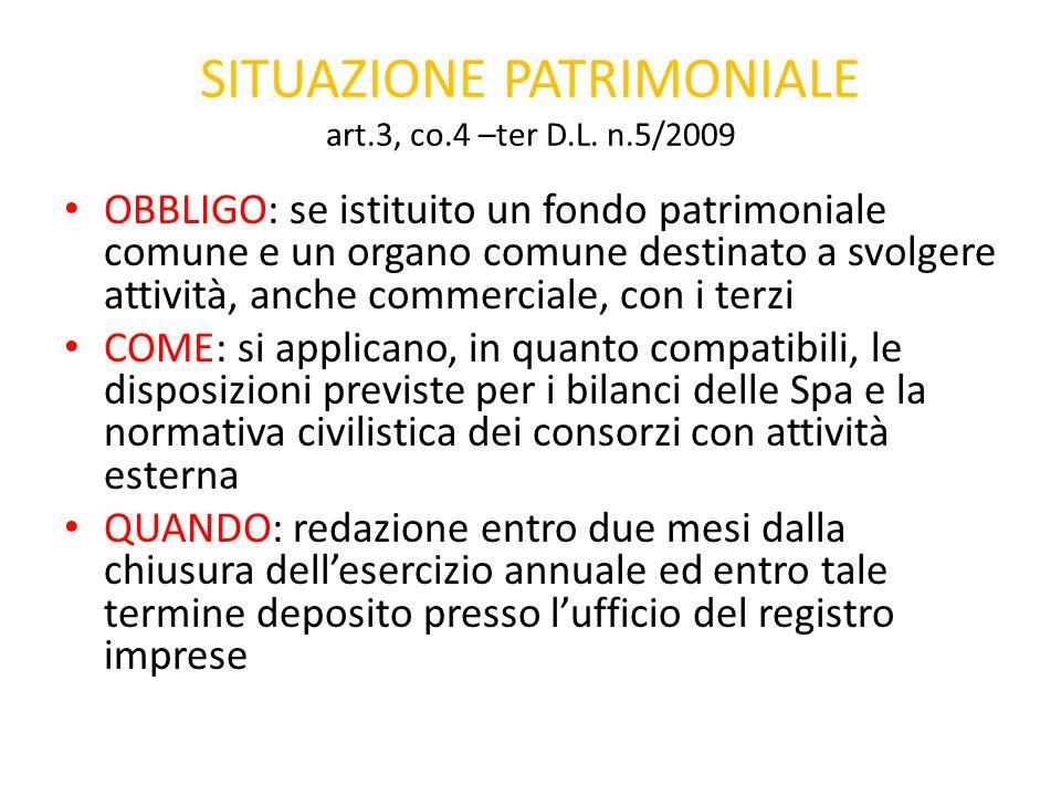 SITUAZIONE PATRIMONIALE art.3, co.4 –ter D.L. n.5/2009