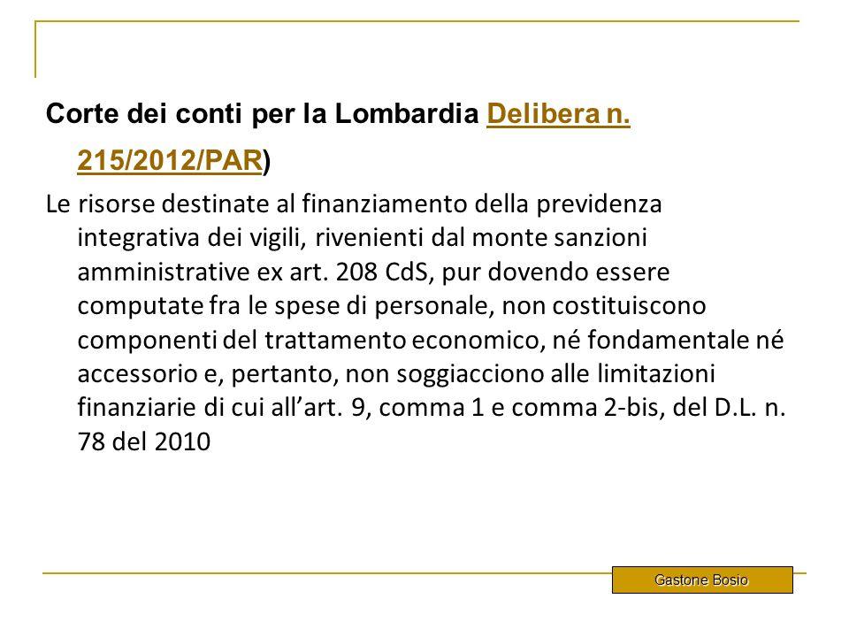 Corte dei conti per la Lombardia Delibera n. 215/2012/PAR)