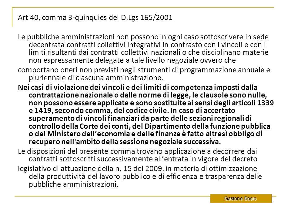 Art 40, comma 3-quinquies del D.Lgs 165/2001