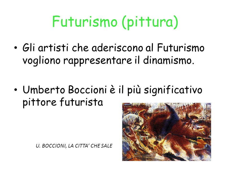 Futurismo (pittura) Gli artisti che aderiscono al Futurismo vogliono rappresentare il dinamismo.