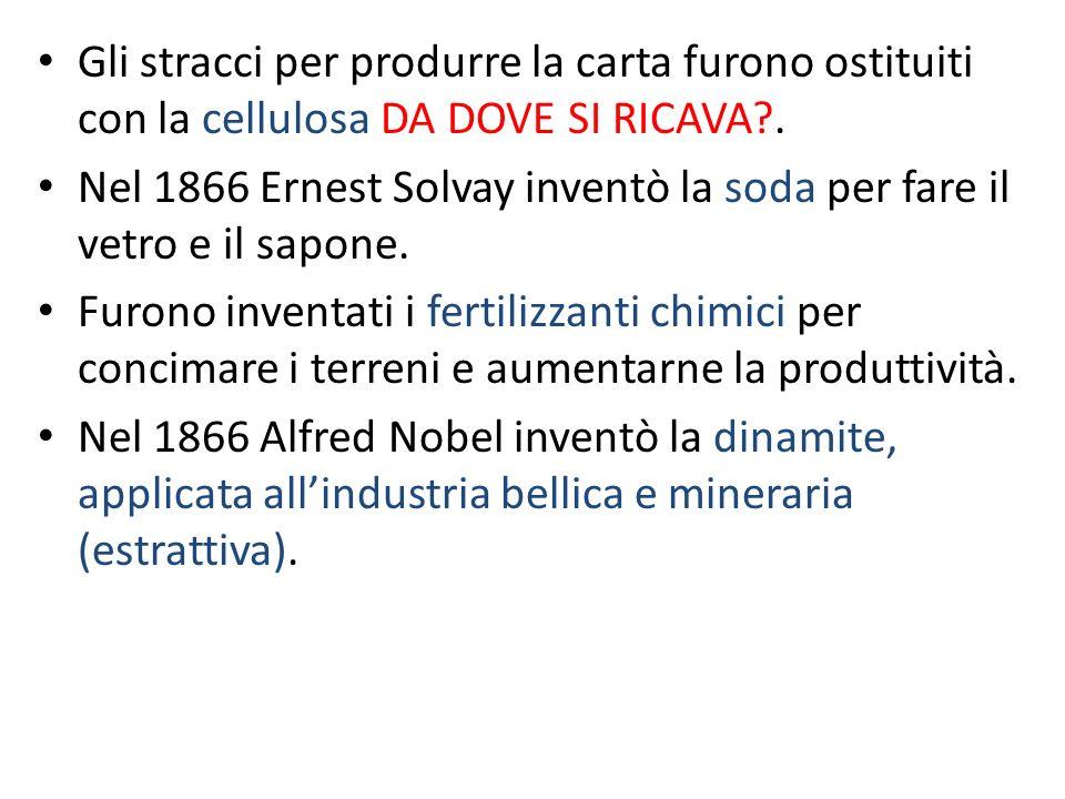Gli stracci per produrre la carta furono ostituiti con la cellulosa DA DOVE SI RICAVA .
