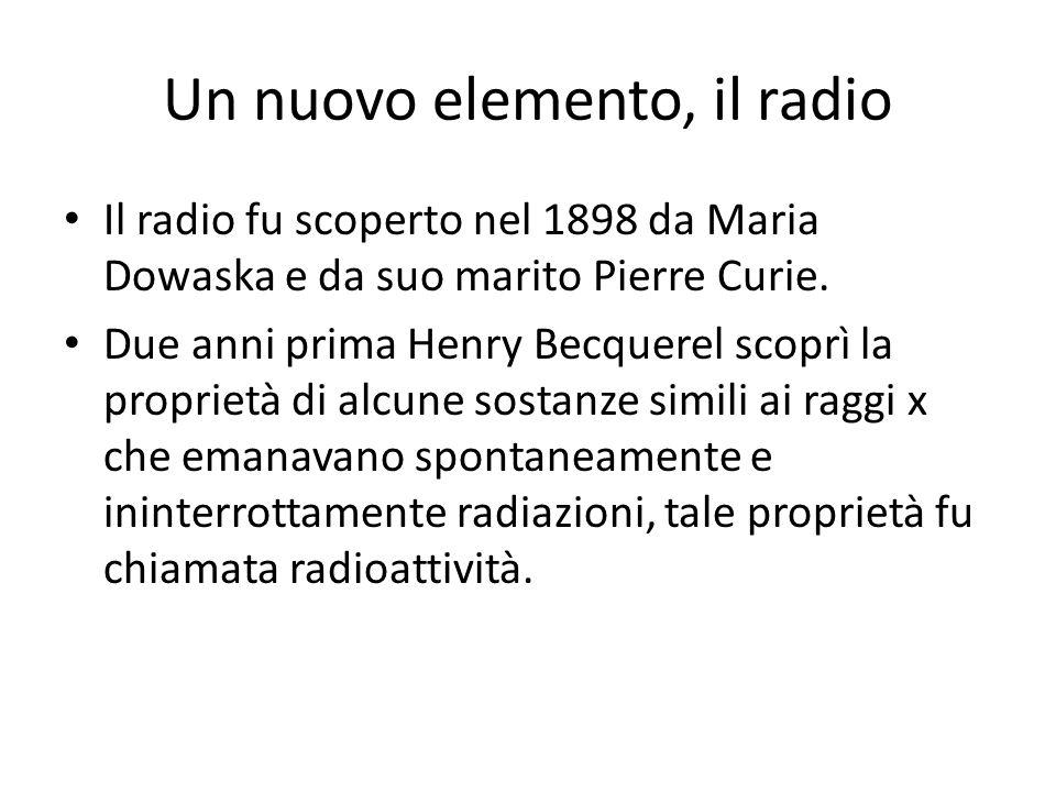 Un nuovo elemento, il radio