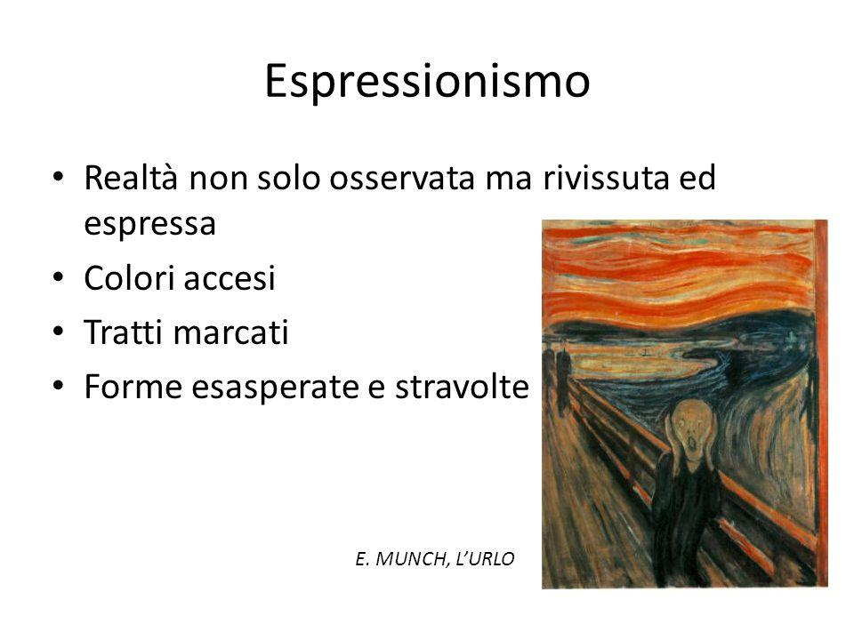 Espressionismo Realtà non solo osservata ma rivissuta ed espressa