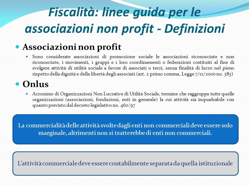 Fiscalità: linee guida per le associazioni non profit - Definizioni