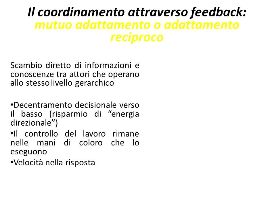 Il coordinamento attraverso feedback: mutuo adattamento o adattamento reciproco