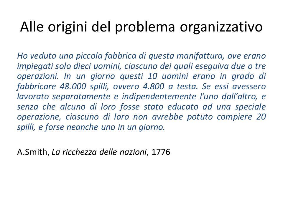 Alle origini del problema organizzativo