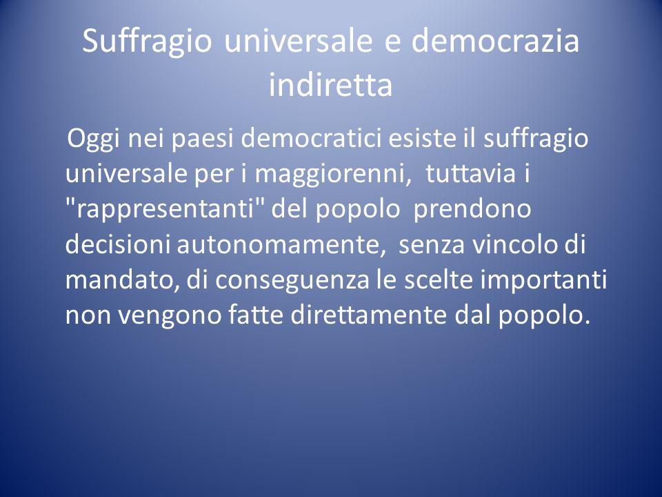 Suffragio universale e democrazia indiretta