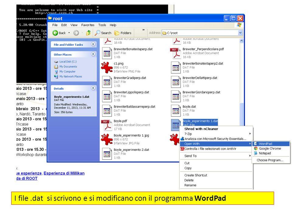 I file .dat si scrivono e si modificano con il programma WordPad