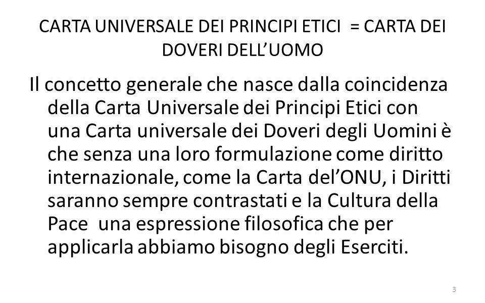 CARTA UNIVERSALE DEI PRINCIPI ETICI = CARTA DEI DOVERI DELL'UOMO