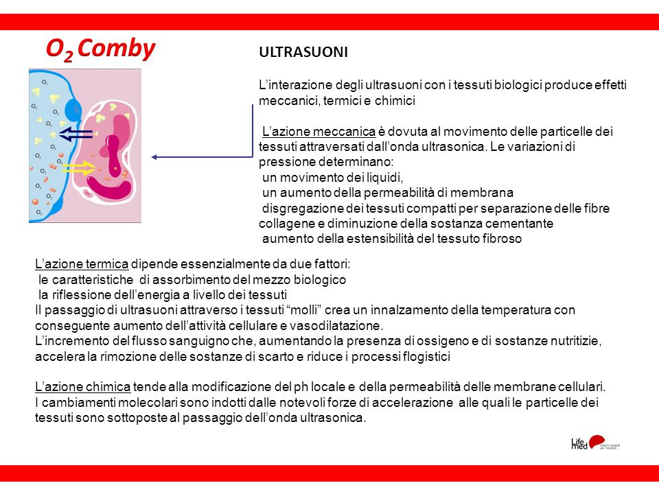 O2 Comby ULTRASUONI. L'interazione degli ultrasuoni con i tessuti biologici produce effetti meccanici, termici e chimici.