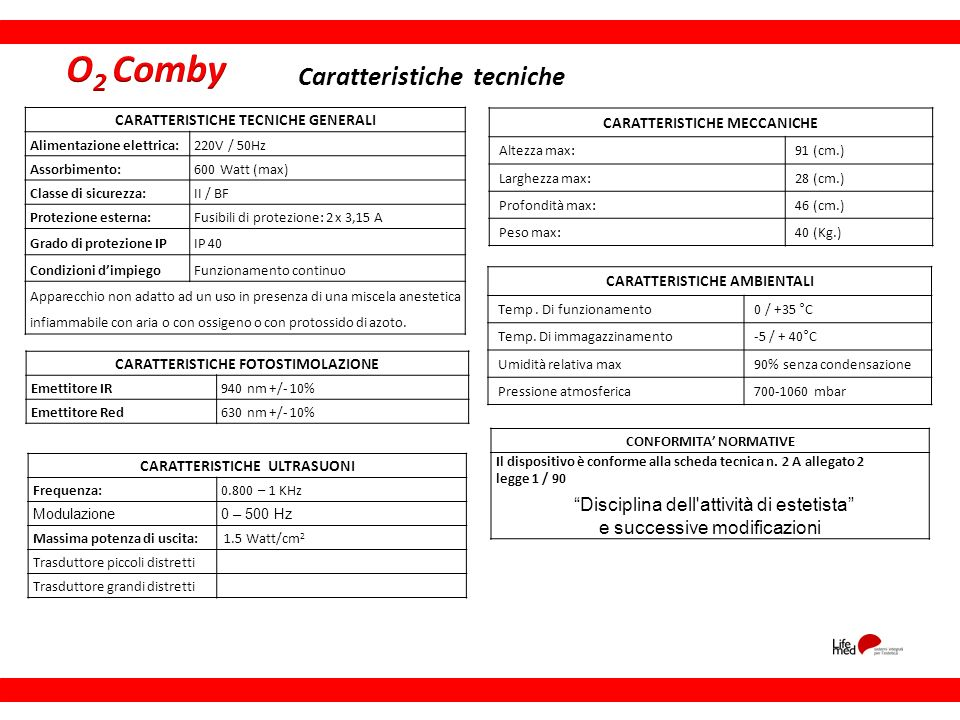 O2 Comby Caratteristiche tecniche