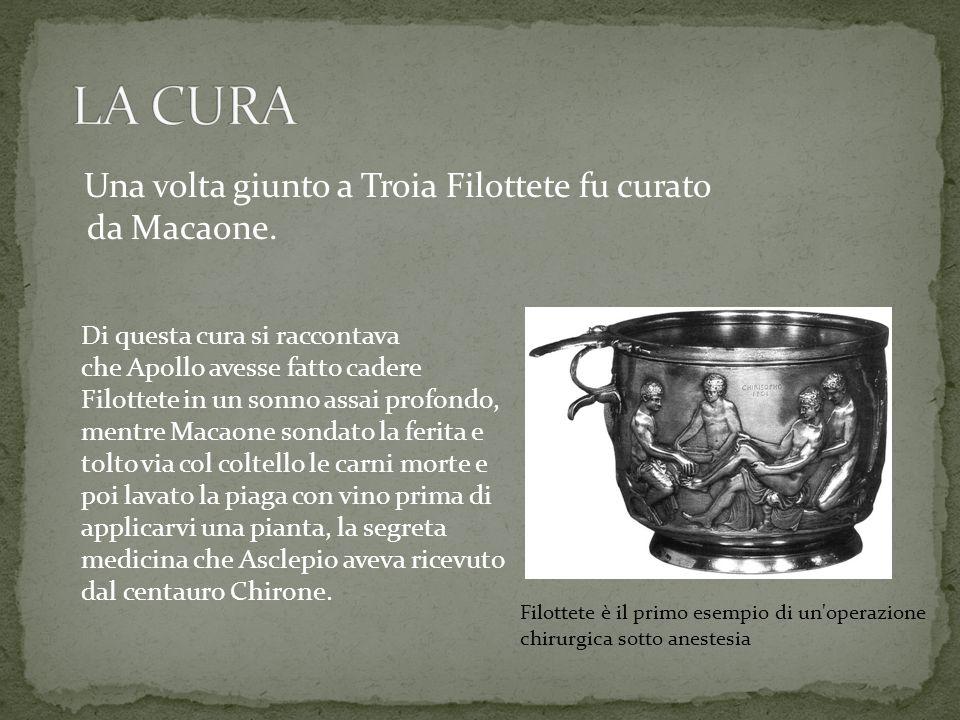 LA CURA Una volta giunto a Troia Filottete fu curato da Macaone.