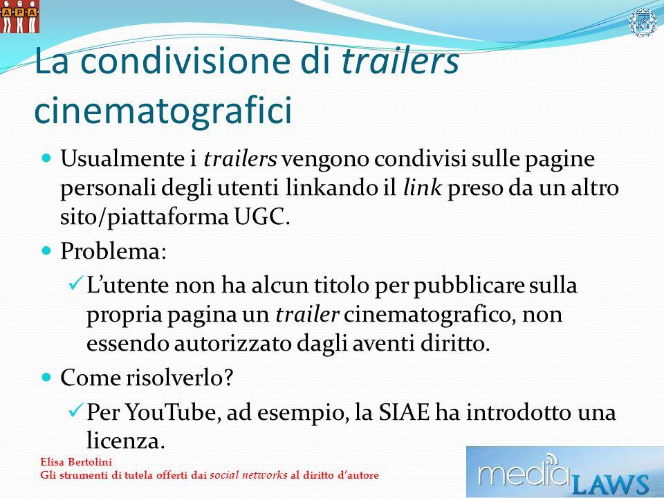 La condivisione di trailers cinematografici