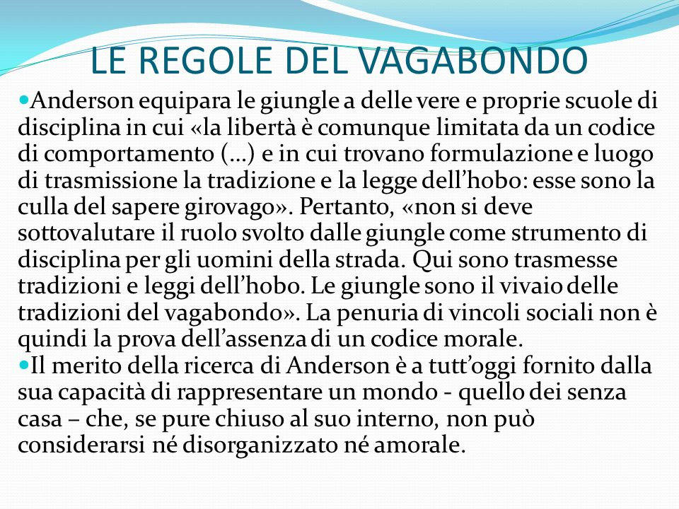 LE REGOLE DEL VAGABONDO