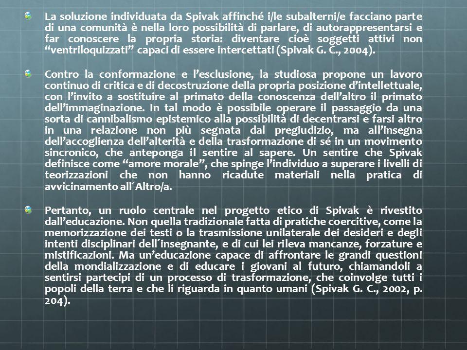 La soluzione individuata da Spivak affinché i/le subalterni/e facciano parte di una comunità è nella loro possibilità di parlare, di autorappresentarsi e far conoscere la propria storia: diventare cioè soggetti attivi non ventriloquizzati capaci di essere intercettati (Spivak G. C., 2004).