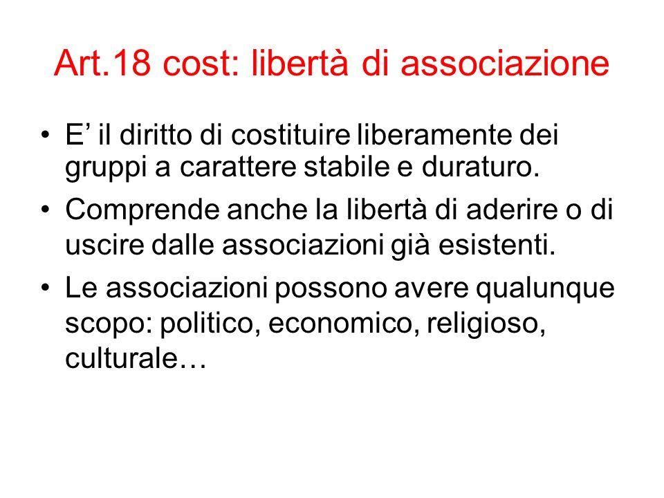 Art.18 cost: libertà di associazione