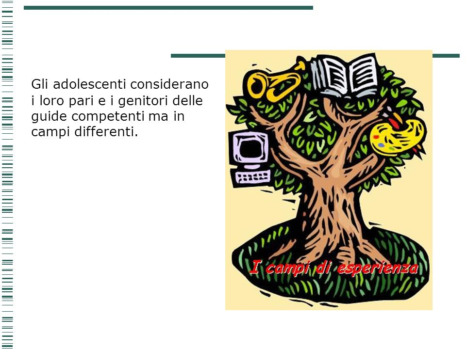 Gli adolescenti considerano i loro pari e i genitori delle guide competenti ma in campi differenti.