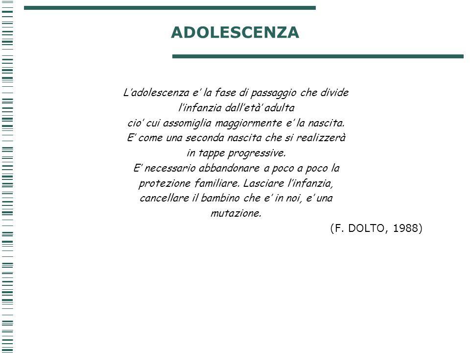 ADOLESCENZA L'adolescenza e' la fase di passaggio che divide