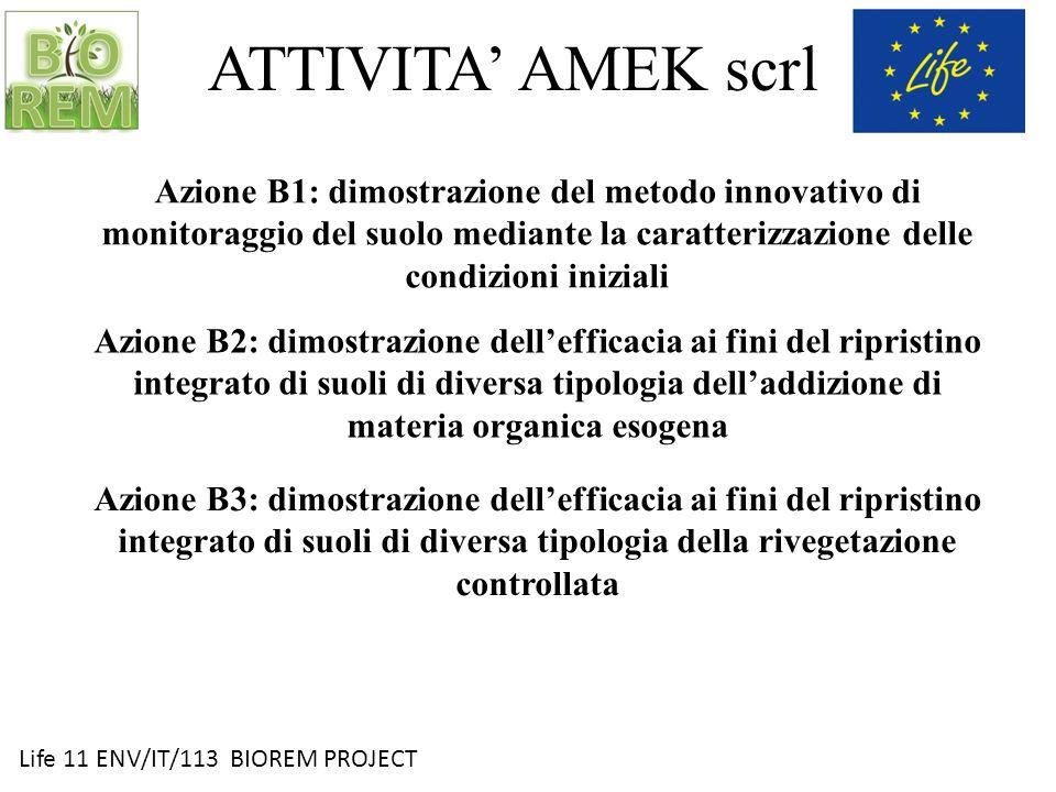 ATTIVITA' AMEK scrl Azione B1: dimostrazione del metodo innovativo di monitoraggio del suolo mediante la caratterizzazione delle condizioni iniziali.