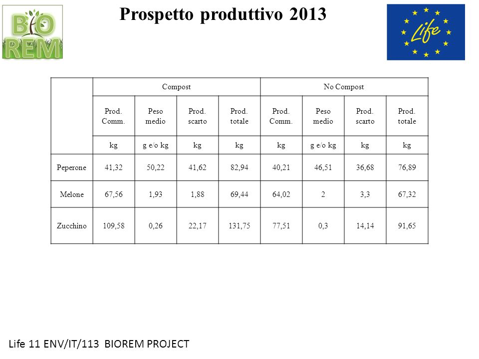 Prospetto produttivo 2013 Life 11 ENV/IT/113 BIOREM PROJECT Compost