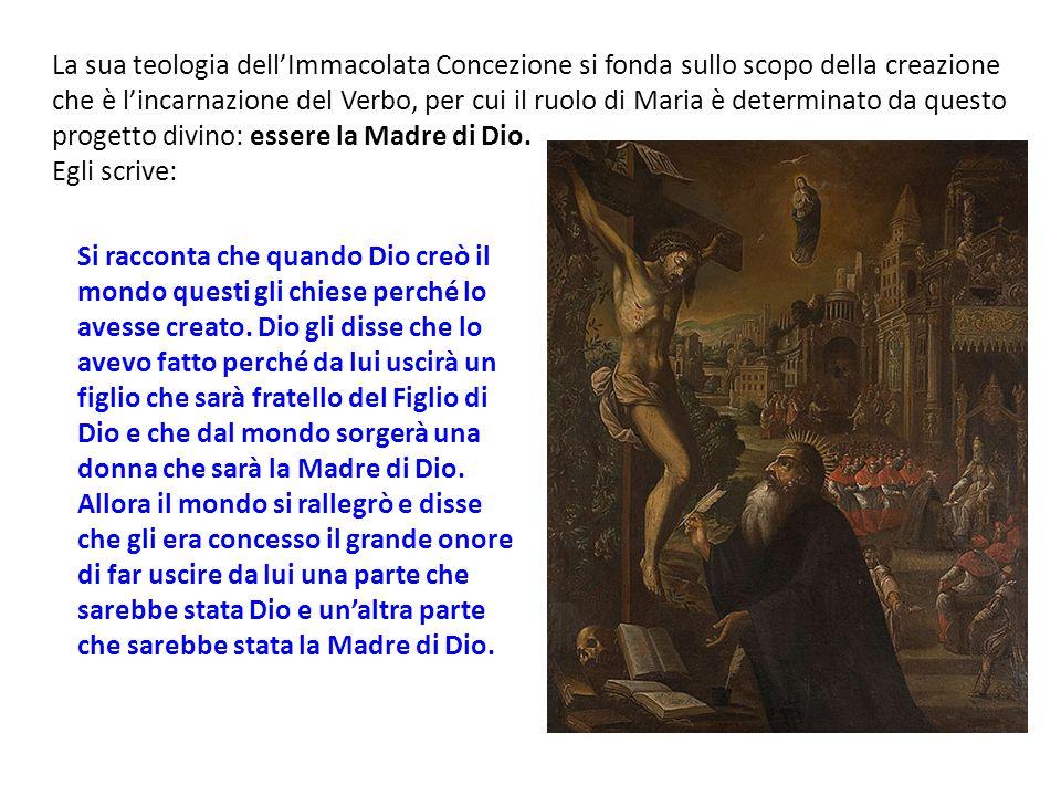 La sua teologia dell'Immacolata Concezione si fonda sullo scopo della creazione che è l'incarnazione del Verbo, per cui il ruolo di Maria è determinato da questo progetto divino: essere la Madre di Dio.