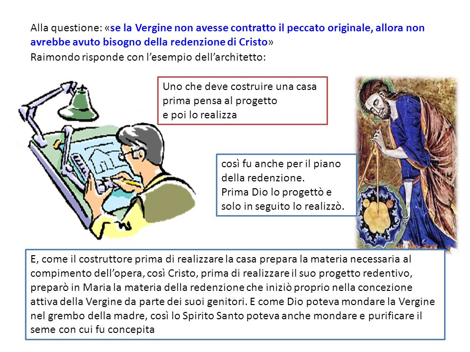 Alla questione: «se la Vergine non avesse contratto il peccato originale, allora non avrebbe avuto bisogno della redenzione di Cristo»