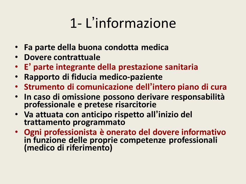 1- L'informazione Fa parte della buona condotta medica