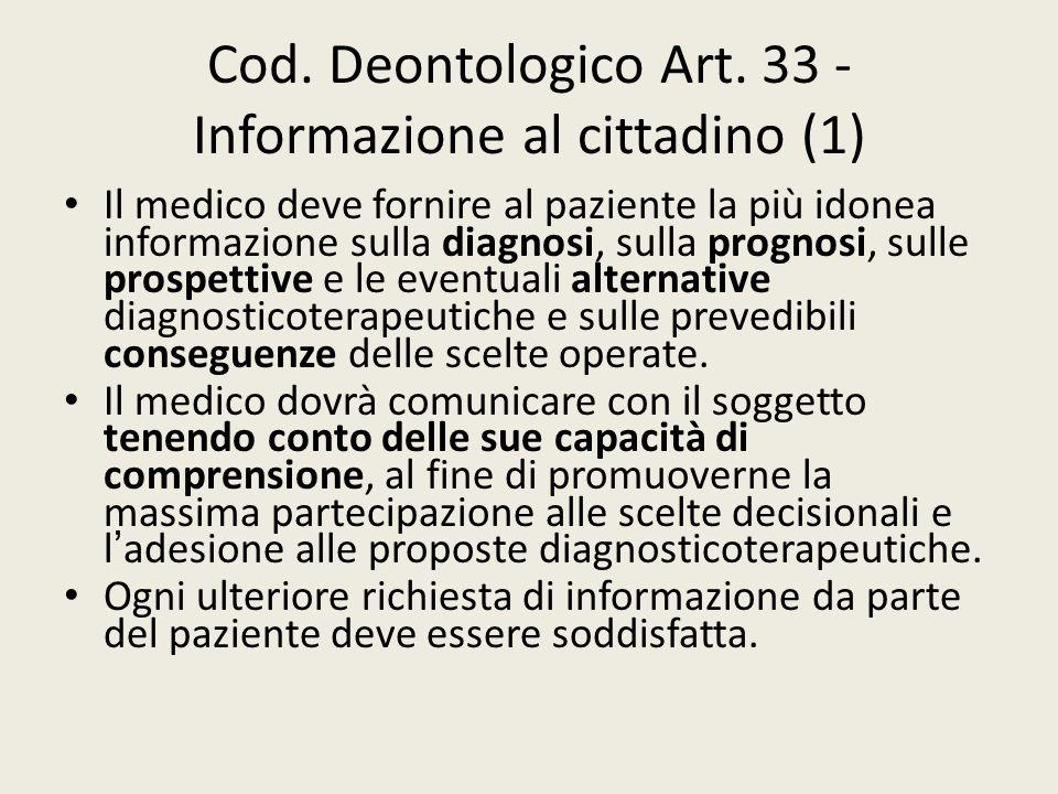 Cod. Deontologico Art. 33 - Informazione al cittadino (1)