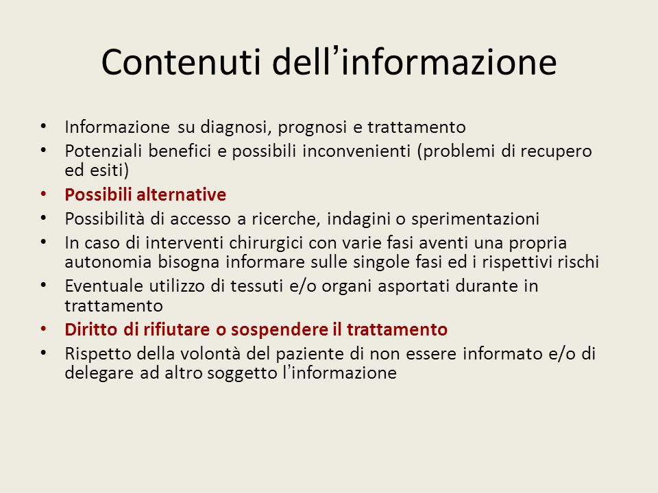 Contenuti dell'informazione