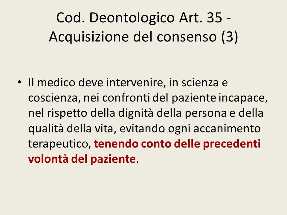 Cod. Deontologico Art. 35 - Acquisizione del consenso (3)