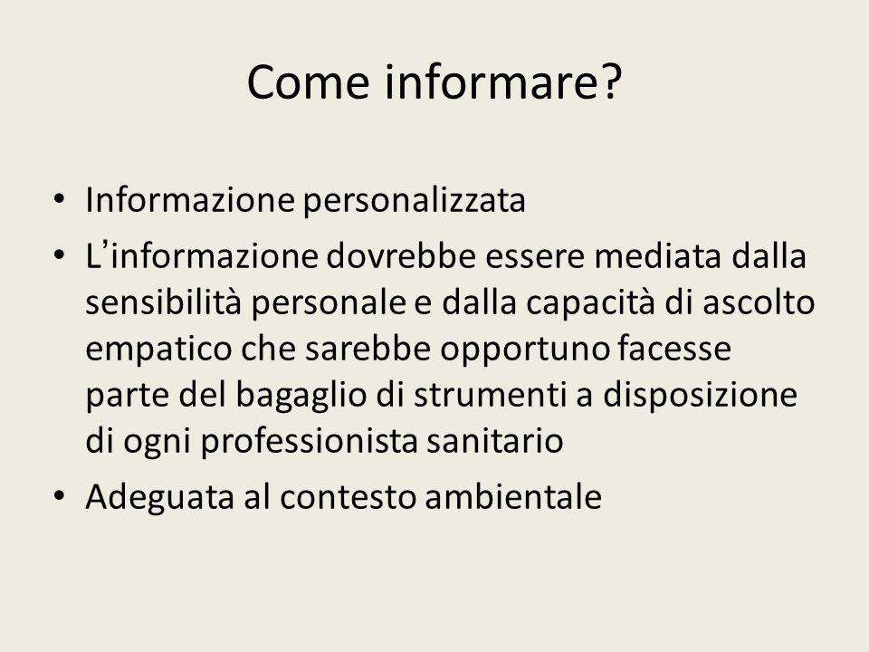 Come informare Informazione personalizzata