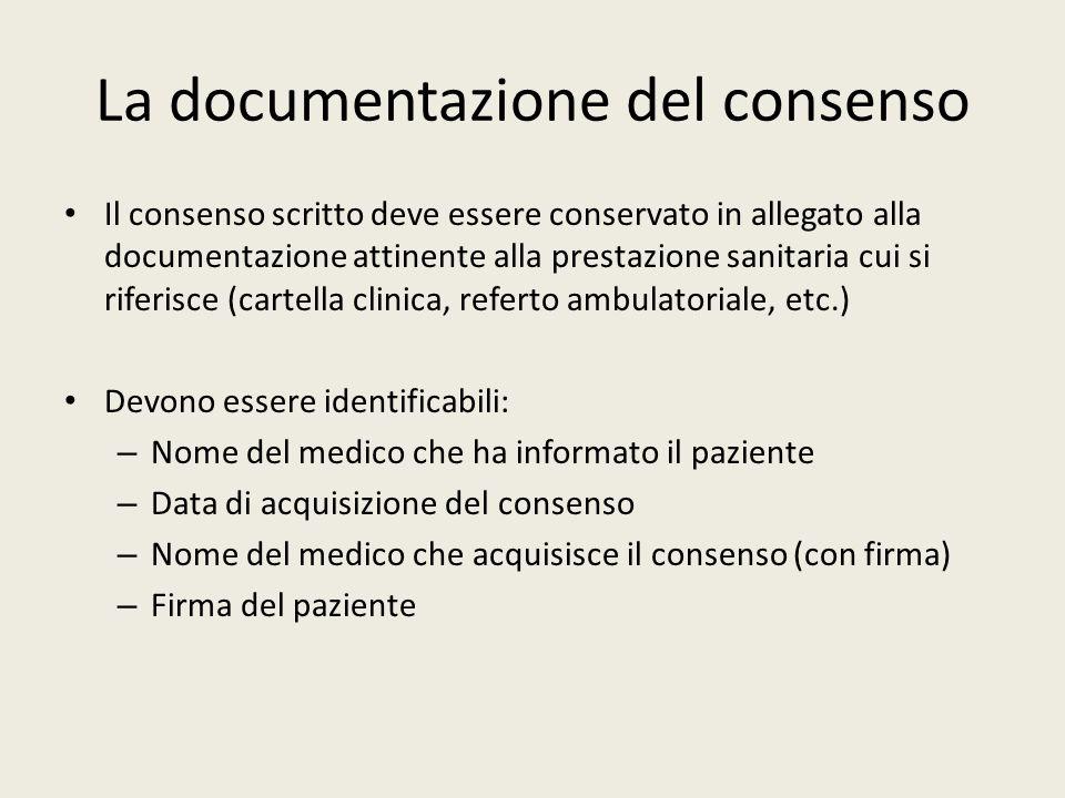 La documentazione del consenso