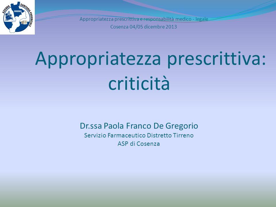 Appropriatezza prescrittiva e responsabilità medico - legale