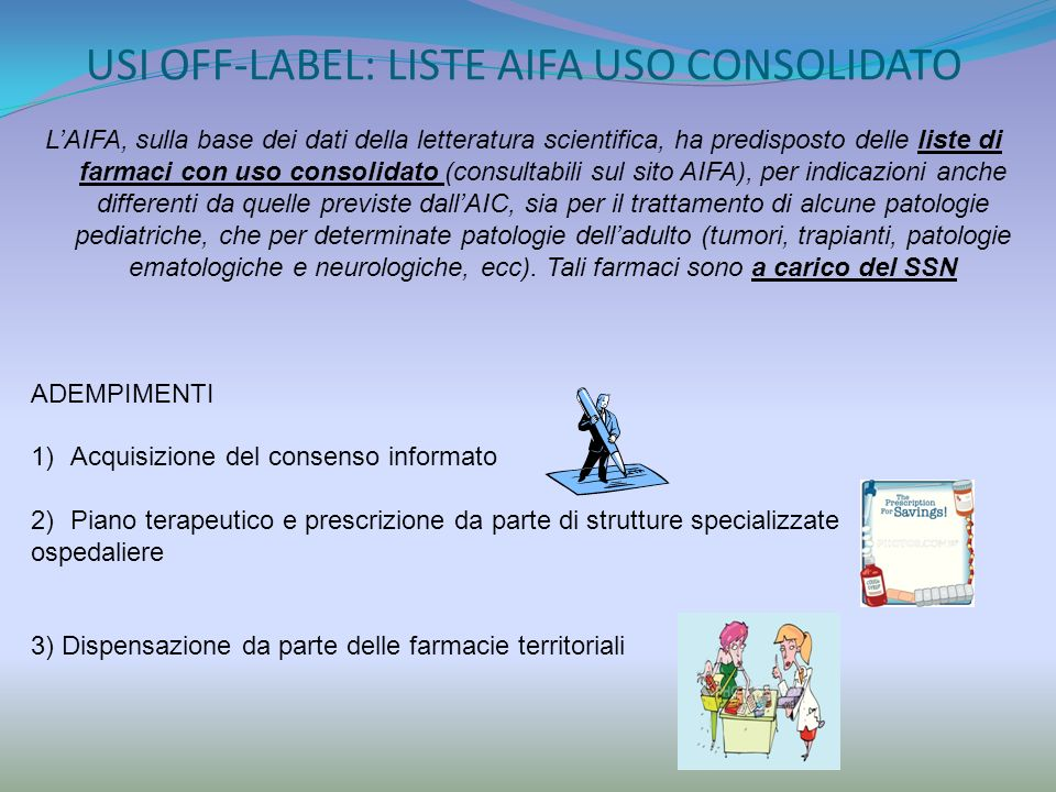 USI OFF-LABEL: LISTE AIFA USO CONSOLIDATO