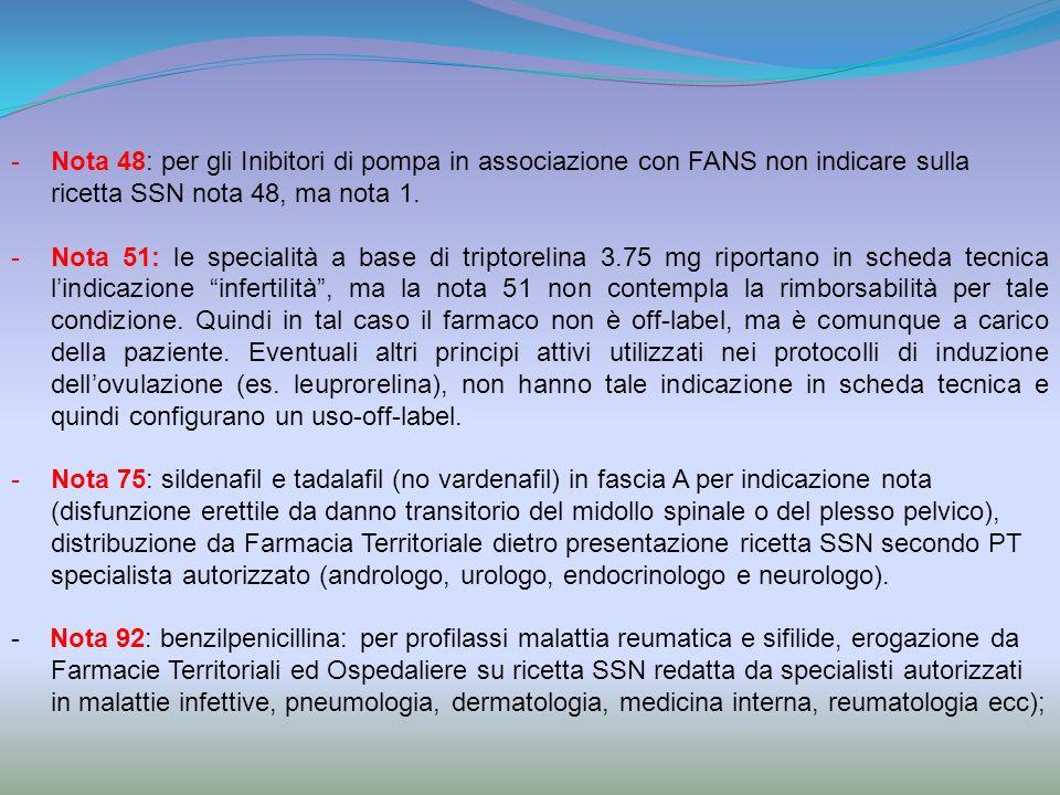 Nota 48: per gli Inibitori di pompa in associazione con FANS non indicare sulla ricetta SSN nota 48, ma nota 1.