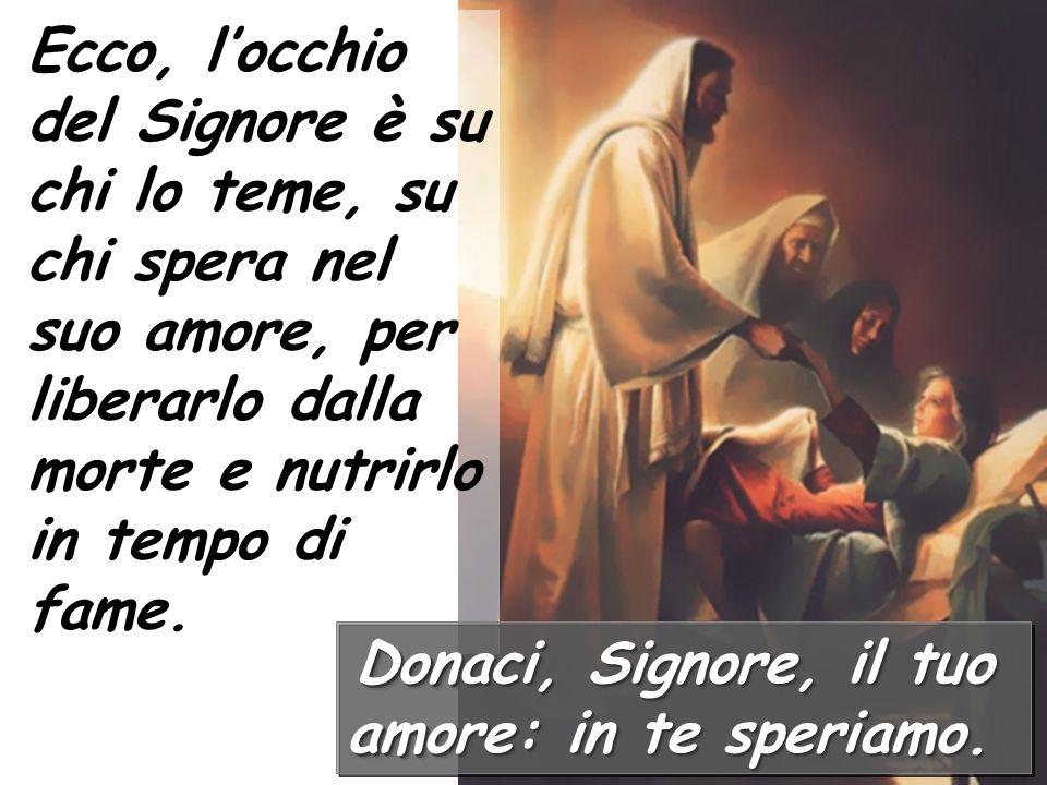 Ecco, l'occhio del Signore è su chi lo teme, su chi spera nel suo amore, per liberarlo dalla morte e nutrirlo in tempo di fame.