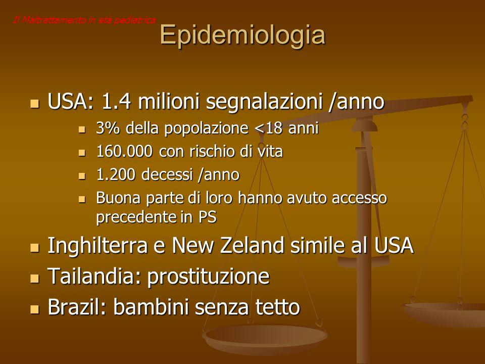 Epidemiologia USA: 1.4 milioni segnalazioni /anno