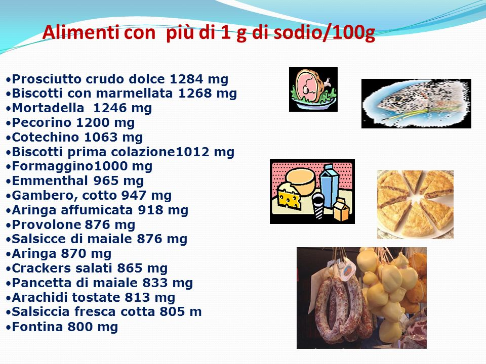 Alimenti con più di 1 g di sodio/100g