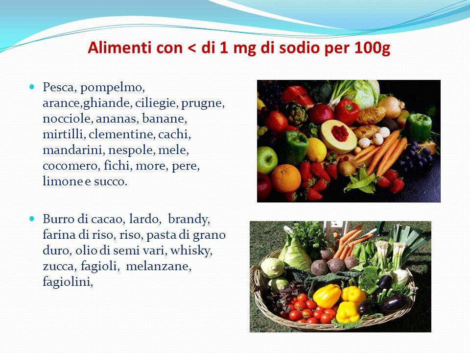 Alimenti con < di 1 mg di sodio per 100g