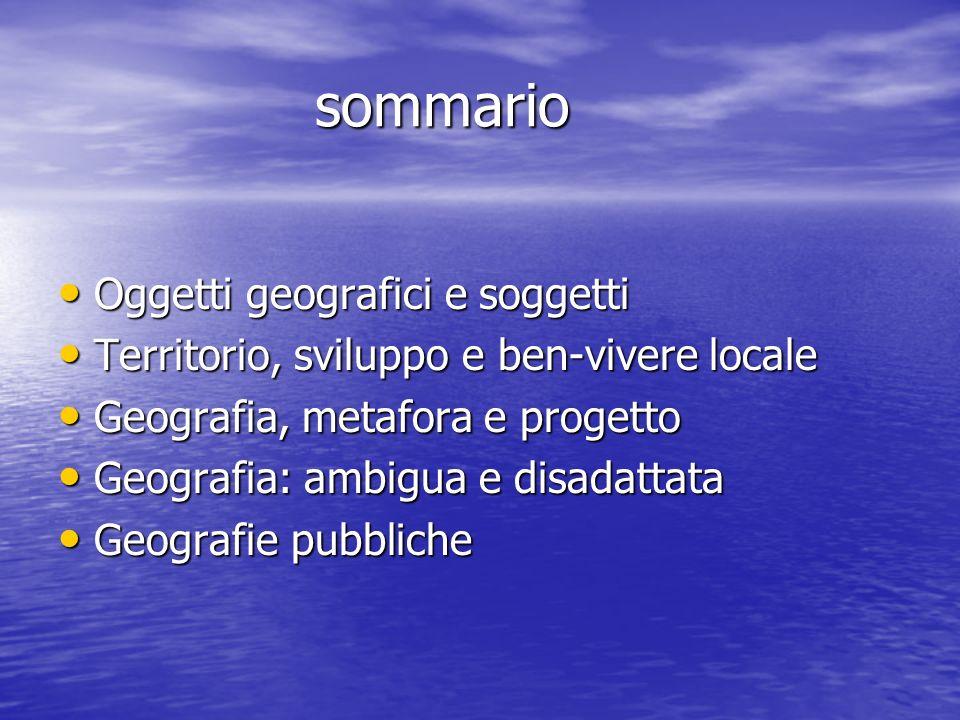sommario Oggetti geografici e soggetti