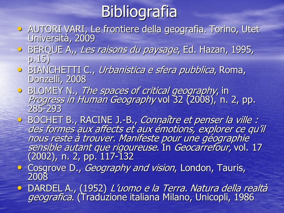 Bibliografia AUTORI VARI, Le frontiere della geografia. Torino, Utet Università, 2009. BERQUE A,, Les raisons du paysage, Ed. Hazan, 1995, p.15)