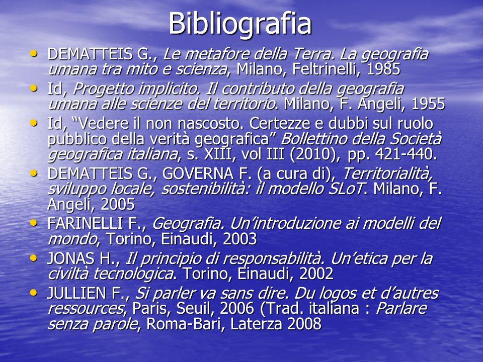 Bibliografia DEMATTEIS G., Le metafore della Terra. La geografia umana tra mito e scienza, Milano, Feltrinelli, 1985.