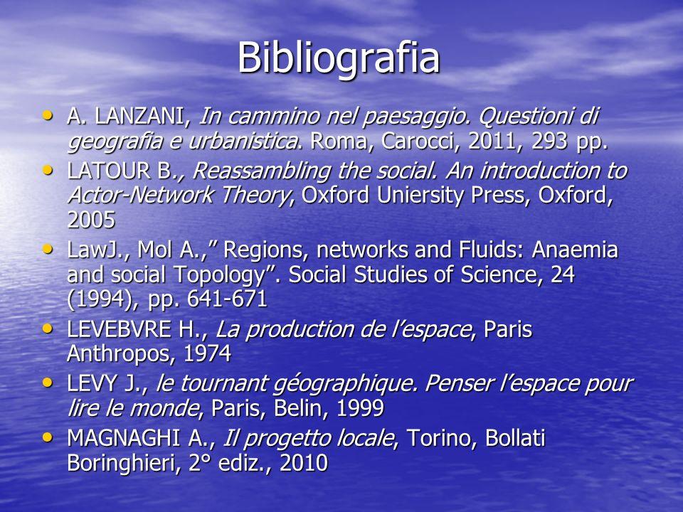 Bibliografia A. LANZANI, In cammino nel paesaggio. Questioni di geografia e urbanistica. Roma, Carocci, 2011, 293 pp.