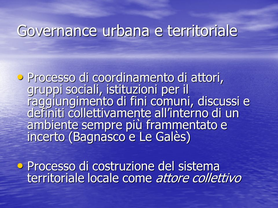 Governance urbana e territoriale