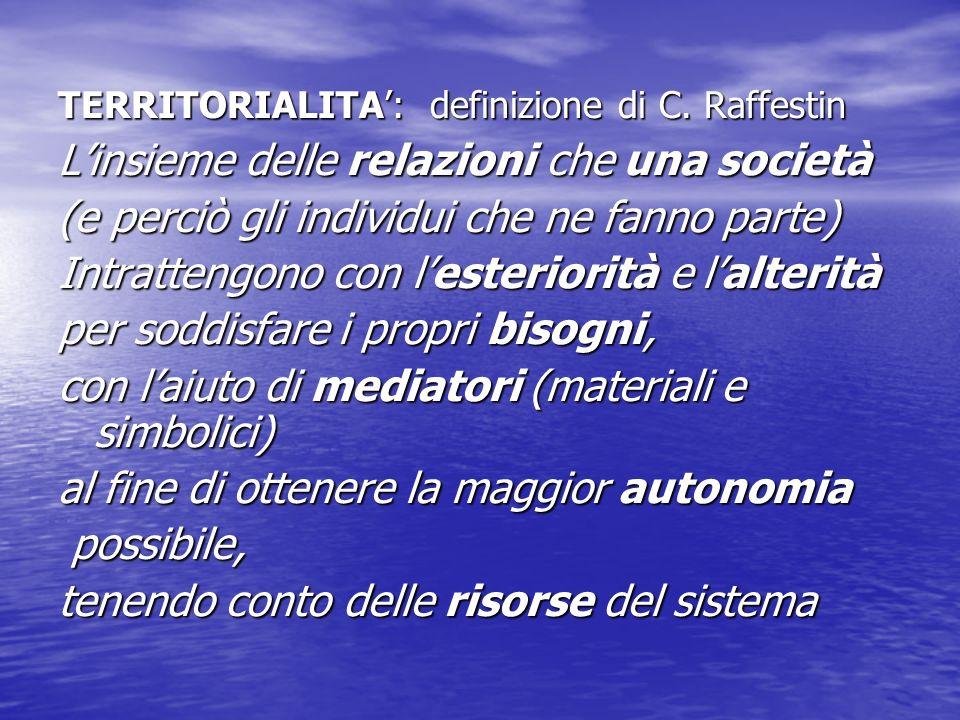 TERRITORIALITA': definizione di C. Raffestin